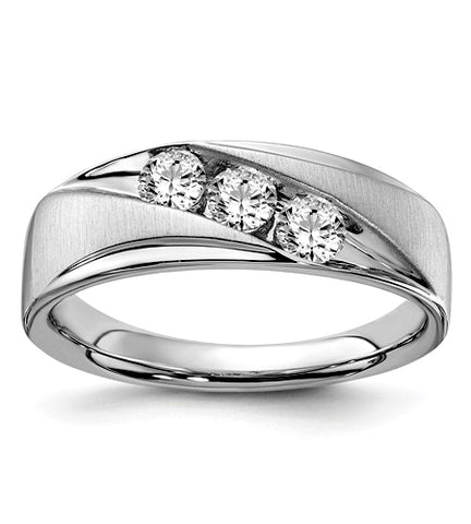Men's 3 Diamond Wedding Band, 10k White Gold, .60 carat t.w.