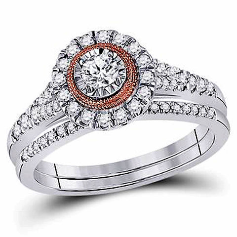 Hidden Blush Diamond Bridal Set, 1/2 carat Diamonds t.w., 10k White and Rose Gold