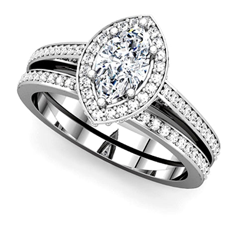 Marquise Diamond Halo Engagement Ring and Wedding Band Set