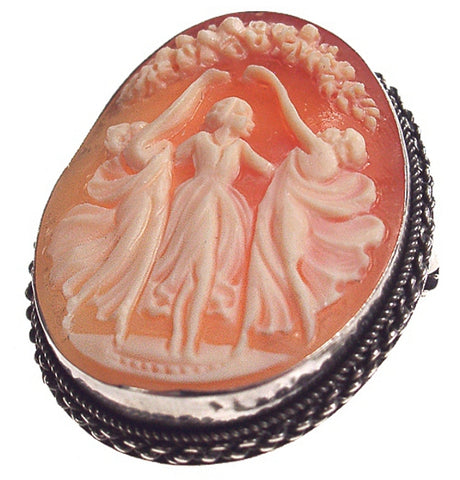 Three Graces Hand Carved Shell Cameo, Sterling Silver Antique Style Brooch-Pendant