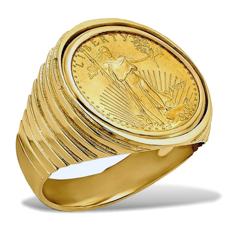 Men's 14k Gold Coin Ring featuring the 1/10th ounce American Gold Eagle Coin