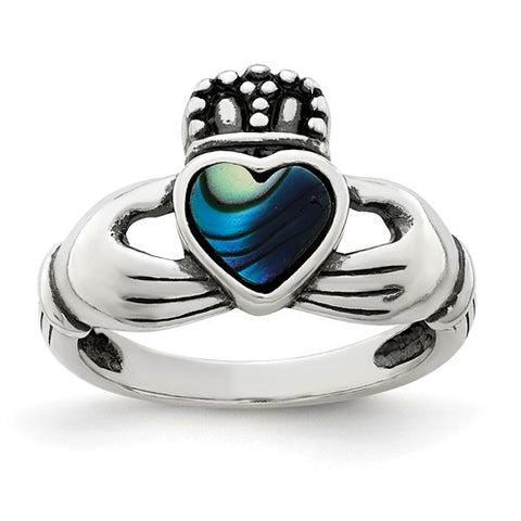 Sterling Silver Claddagh Ring with Genuine Abalone Inlay