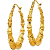 14k Gold Bamboo Hoop Earrings, Large 27mm Diameter