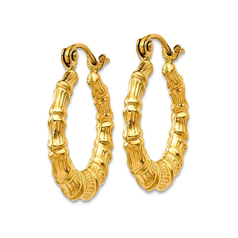 14k Gold Bamboo Hoop Earrings, Small 13mm Diameter