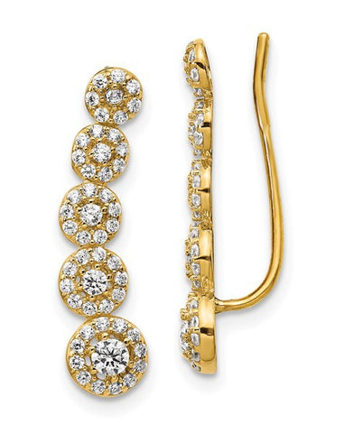 Syndy's Sparkling Garden 14k Gold and CZ Ear Climber Earrings