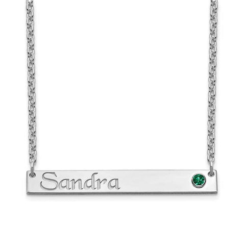 Personalized Name Bar Necklace with Birthstone