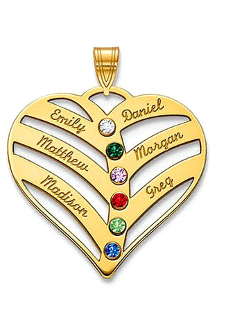 Custom Made Mother's Heart Pendant with Names and Birthstones, Sterling Silver or Gold Plate