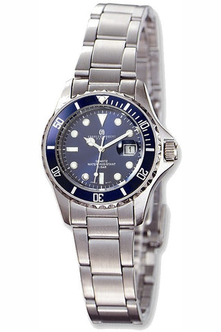 Ladies Charles-Hubert Paris Classic Stainless Steel Blue Dial Watches