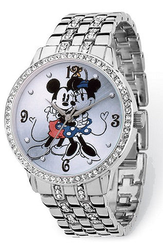 Disney's Romantic Mickey and Minnie Mouse Watch with a Halo of Sparkling Crystals