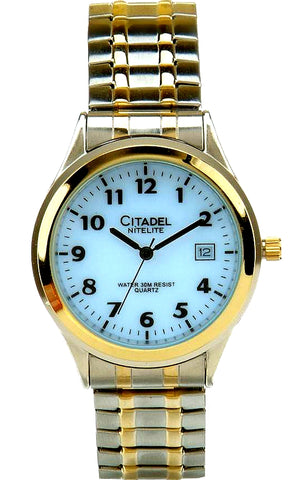 Citadel NiteLite, Push-Button Backlight Men's Watch, Two-tone Case & Bracelet