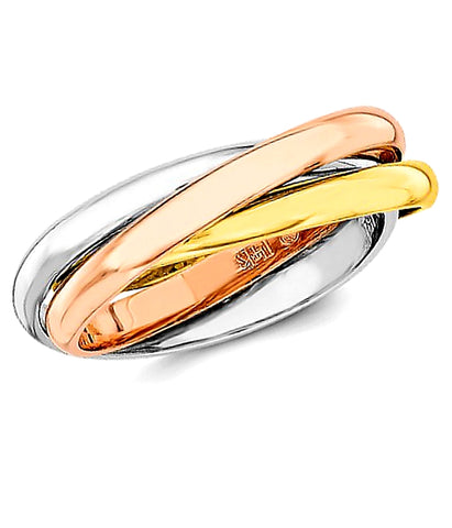 14k Gold Tri-Color High Polished Rolling Rings