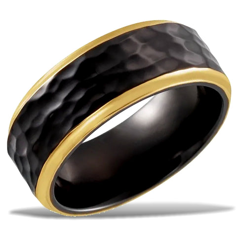 Hammered Black Titanium Wedding Band with 18k PVD Gold Trim
