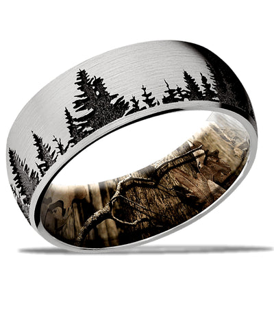 Outdoors Infinity Wedding Ring by Lashbrook from Cobalt Chrome and Mossy Oak Camo