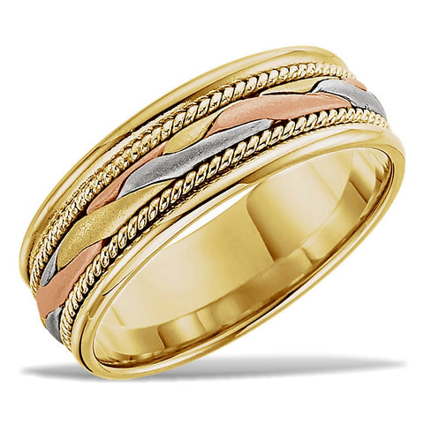 Three Strand, Tri-color 14k Gold, Hand Woven Wedding Band