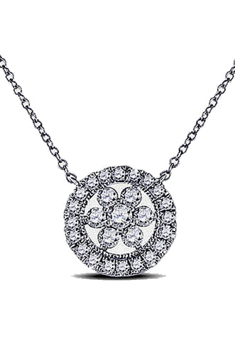 Encircled Diamond Pendant, Diamonds Surrounded by More Diamonds, 14k White Gold