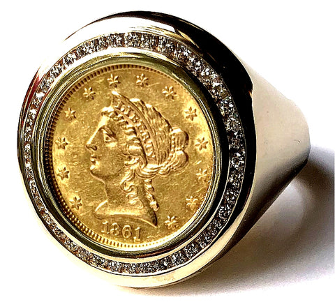 Men's Diamond and Gold Coin Ring featuring a Genuine USA 1861 Liberty Gold Quarter Eagle