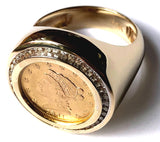 Men's Diamond and Gold Coin Ring featuring a Genuine USA Liberty Gold Quarter Eagle