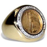 Men's Diamond and Gold Coin Ring featuring the 1/10th ounce USA Walking Liberty Coin