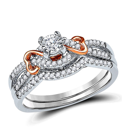 Hidden Blush Twin Hearts Diamond Bridal Set, 1/3rd carat total weight, White and Rose 10k Gold