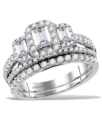 Three Emerald Cut Diamonds, Halo Diamond Bridal Set, 14k White Gold, 1 1/2 carat total weight