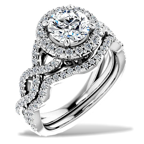 Infinity Halo Diamond Engagement Ring and Wedding Band, Over 1 carat total diamond weight