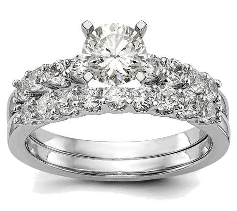 Classic Diamond Bridal Set, 1 1/2 carats total weight, Lab Grown Diamonds, 14k White Gold