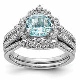 Vintage Aquamarine and Diamond Engagement Rings and Matching Diamond Wedding Band