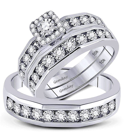 Diamond Halo Wedding Set with Matching Men's Diamond Ring