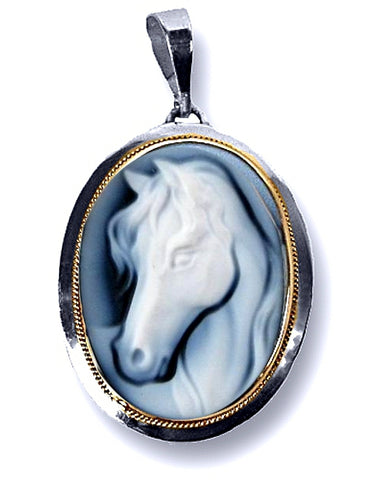 Magnificent Horse Cameo in Blue Agate, Sterling Silver Pendant