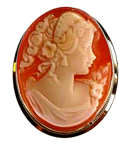 DiVinci Hand Carved Venus Cameo in a 14k Gold Pin-Pendant Frame