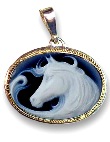 Free Spirit Horse Blue Agate Cameo Pendant, Sterling Silver with 14k Gold Accents