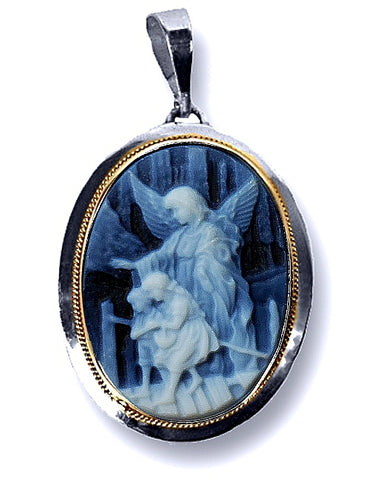 Guardian Angel Watching Over Children Blue Agate DiVinci Cameo Pendant