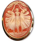 Three Graces Hand Carved Shell Cameo Brooch-Pendant in 14k Gold