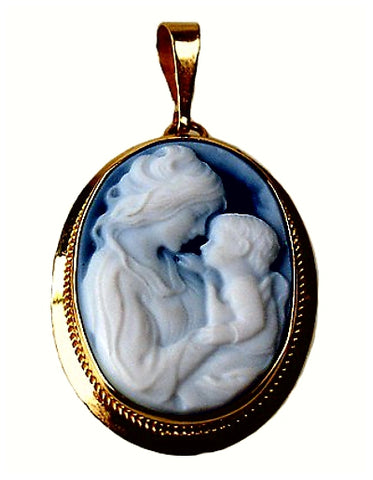 Lifetime of Love Mother and Child Blue Agate Cameo, 14k Gold Pendant