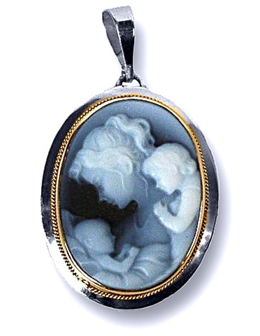 Mother and Two Children Blue Agate Cameo Pendant in a Sterling Silver Frame