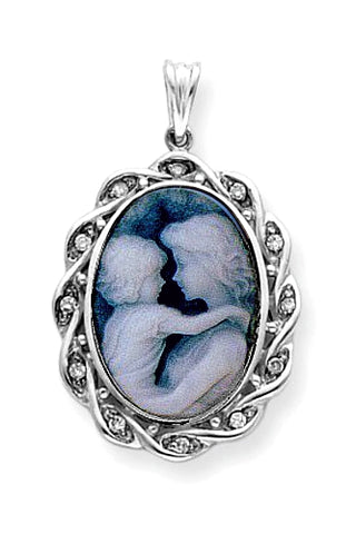 Everlasting Love Blue Agate Cameo and Diamond Pendant, 14k White Gold