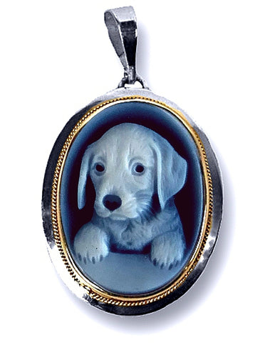 Puppy Dog Blue Agate Cameo Pendant in a Sterling Silver Frame
