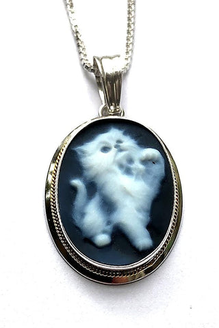 Kitty Cat Blue Agate Cameo Pendant in a Sterling Silver Frame