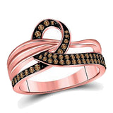 Cognac Diamond Ribbon Ring, 1/3rd carat t.w. Cognac Diamonds, 14k Rose Gold