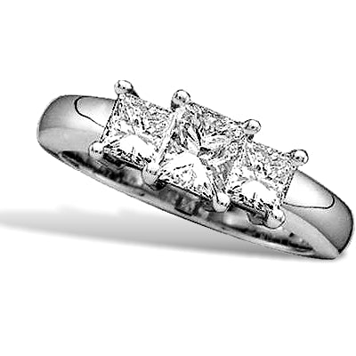 Past, Present, Future 3 Princess Cut Diamond Ring, 14k White Gold