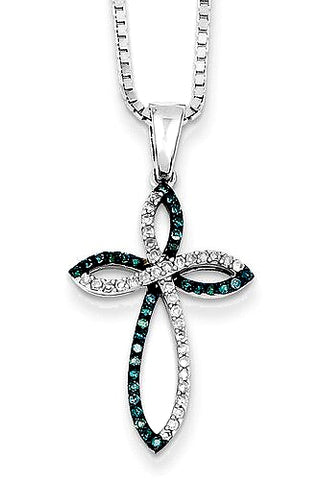 Blue and White Diamond Cross Pendant, 66 Diamonds, 1/5th carat t.w.