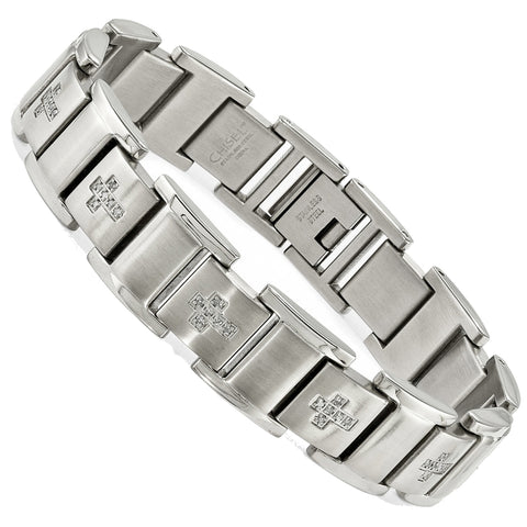 Men's Heavy Diamond Cross Link Bracelet, 1/3rd carat t.w., Stainless Steel