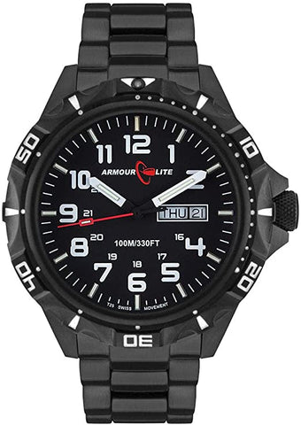 Armourlite Professional Series Black PVD Steel Tritium Watch with Shatterproof Crystal AL1402