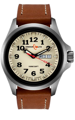 Armourlite Officer's Series, Tritium Field Watch with Creme Dial with Leather Strap AL805