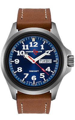 Armourlite Officer's Series, Tritium Field Watch, Blue Dial, Tan Leather Strap AL823