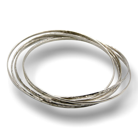 Klaebu Handmade Sterling Silver Intertwined Hammered Bangle Bracelets