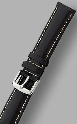 MilSpec Padded and Stitched Black Leather Watch Strap, Multiple Lug Widths Available