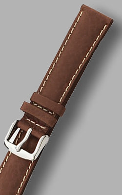 MilSpec Padded and Stitched Brown Leather Watch Strap, Multiple Lug Widths Available