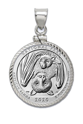 2020 Bat Commemorative U.S. Quarter in a Sterling Silver Pendant