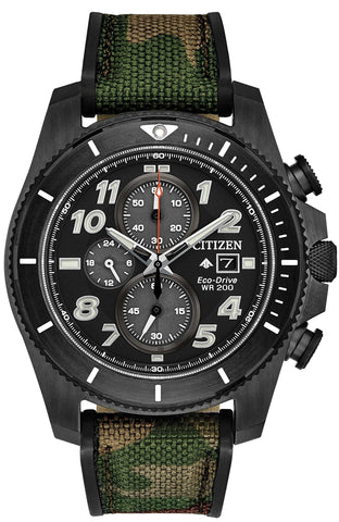 Citizen Promaster TOUGH Chronograph with Black Duralast Finish and Camouflage Strap, CA0727-12E